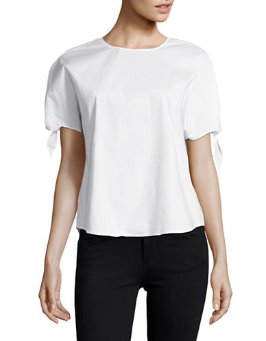 H Halston White Tie Cuff Blouse-WHITE-Large