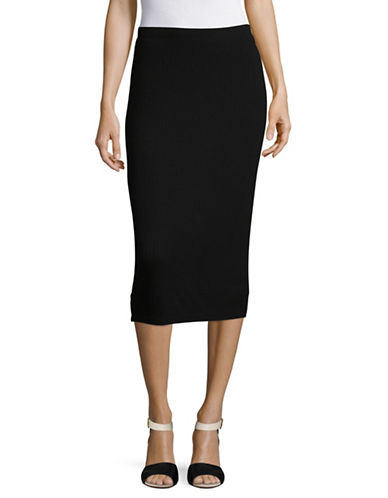 Lord & Taylor Ribbed Bodycon Skirt-BLACK-X-Small