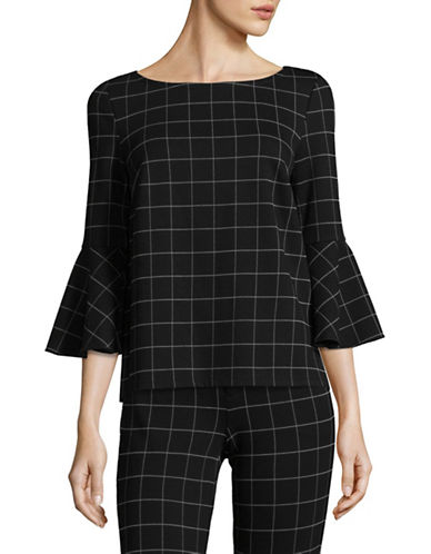 Lord & Taylor Bell Sleeve Windowpane Top-BLACK-Large