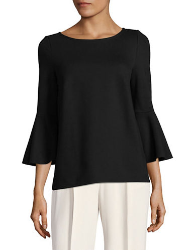 Lord & Taylor Knit Bell-Sleeve Top-BLACK-X-Large