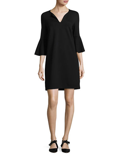 Lord & Taylor Bell Sleeve Split Neck Shift Dress-BLACK-Large