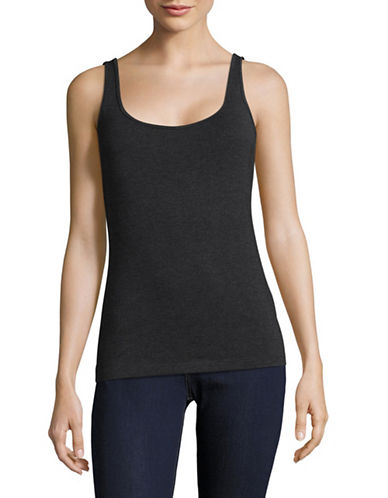 Lord & Taylor Classic Iconic Fit Scoop Neck Tank-CHARCOAL HEATHER-Medium
