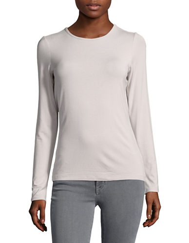 Lord & Taylor Basic Long Sleeve Shirt-HUSHED VIOLET-Medium