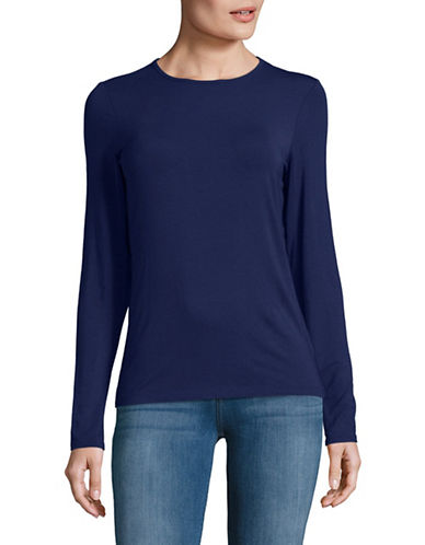 Lord & Taylor Basic Long Sleeve Shirt-NAVY NIGHT-Medium