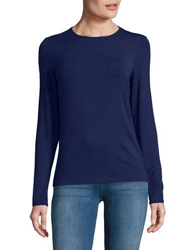Lord & Taylor Basic Long Sleeve Shirt-NAVY NIGHT-Large