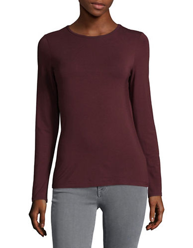 Lord & Taylor Basic Long Sleeve Shirt-BEGONIA-Small