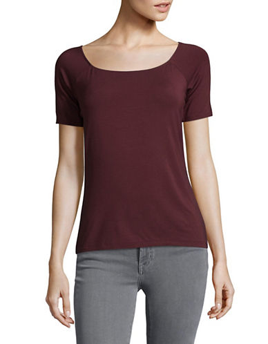 Lord & Taylor Plus Short Sleeved Jersey Tee-BEGONIA-2X