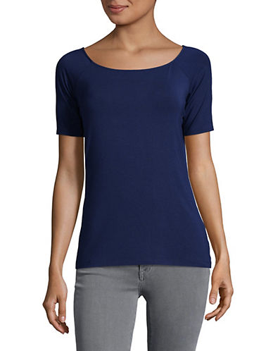 Lord & Taylor Short Sleeved Jersey Tee-NAVY NIGHT-Small