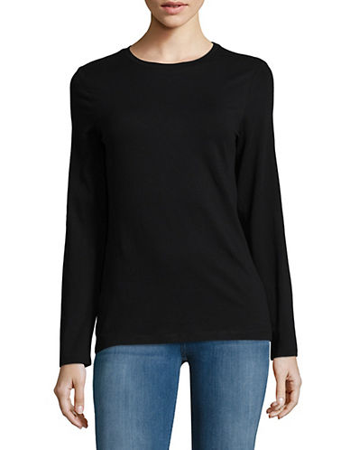 Lord & Taylor Petite Essential Stretch Crew Neck Top-BLACK-Petite Medium