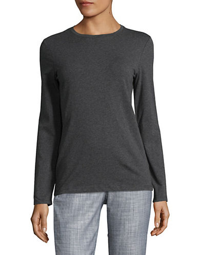 Lord & Taylor Cotton-Blend Tee-GRAPHITE HEATHER-X-Large