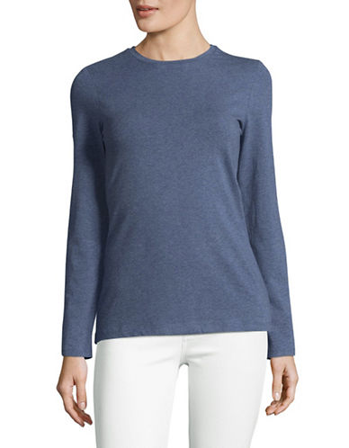 Lord & Taylor Cotton-Blend Tee-TOPAZ HEATHER-Medium