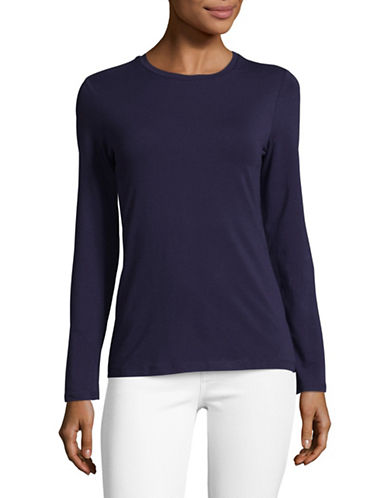 Lord & Taylor Cotton-Blend Tee-EVENING BLUE-Small
