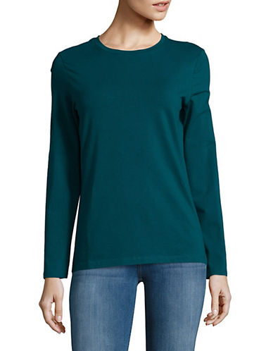 Lord & Taylor Cotton-Blend Tee-SATELLITE-Medium