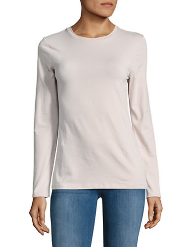 Lord & Taylor Cotton-Blend Tee-HUSHED VIOLET-X-Small