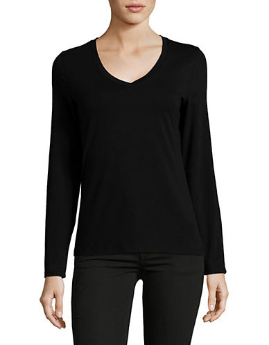 Lord & Taylor Long Sleeve V-Neck Cotton T-Shirt-BLACK-Small