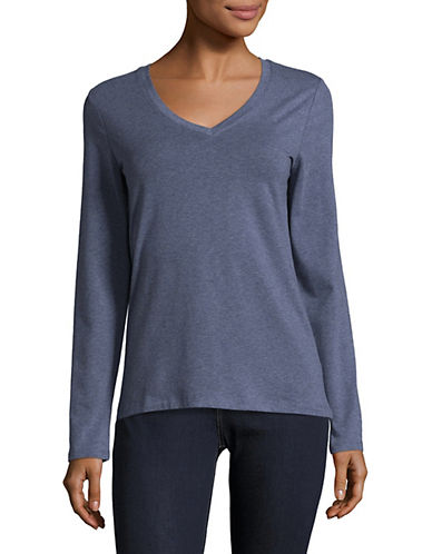 Lord & Taylor Long Sleeve V-Neck Cotton T-Shirt-TOPAZ HEATHER-Small