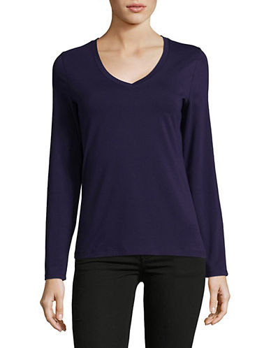Lord & Taylor Long Sleeve V-Neck Cotton T-Shirt-EVENING BLUE-Medium