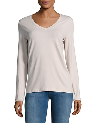 Lord & Taylor Long Sleeve V-Neck Cotton T-Shirt-HUSHED VIOLET-Small