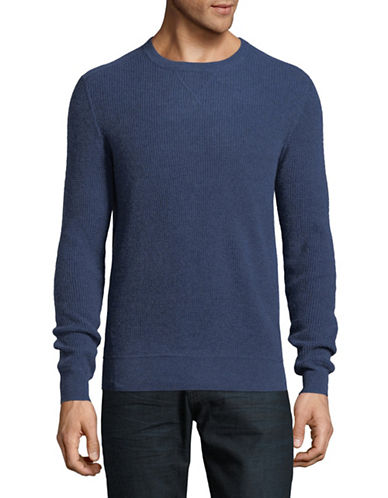 Black Brown 1826 Waffle Cashmere Sweater-BLUE-XXX-Large