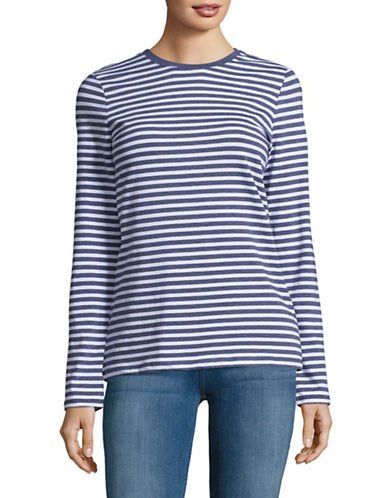 Lord & Taylor Striped Cotton-Blend Tee-TOPAZ HEATHER-Large