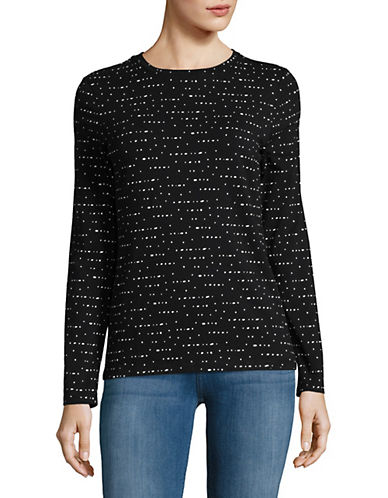 Lord & Taylor Printed Crewneck Tee-BLACK-Medium