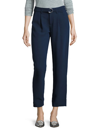 H Halston Mailnline Fitted Belted Pants-BLUE-X-Large 88871891_BLUE_X-Large