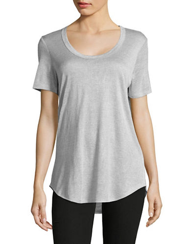 H Halston Slub Knit Scoop Neck T-Shirt-GREY-X-Small 88871912_GREY_X-Small