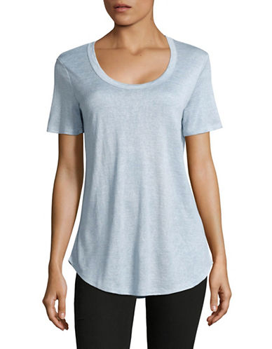 H Halston Slub Knit Scoop Neck T-Shirt-BLUE-Large 88871920_BLUE_Large