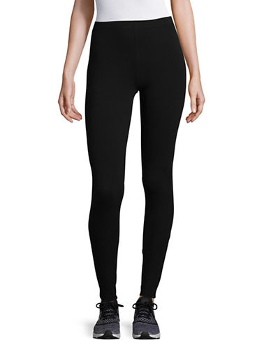 Lord & Taylor Cotton Blend Leggings-BLACK-X-Large