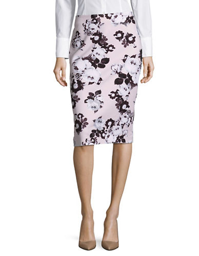 Lord & Taylor Floral Pencil Skirt-HUSHED VIOLET-0
