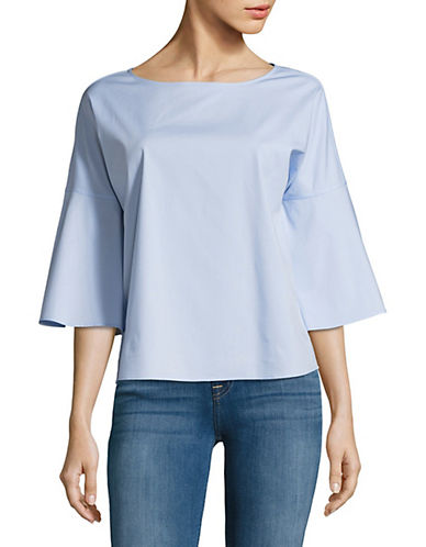 Lord & Taylor Flared Three-Quarter Sleeve Top-CLOUD BLUE-X-Large