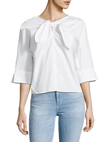 Lord & Taylor Tie Front Top-WHITE-X-Large