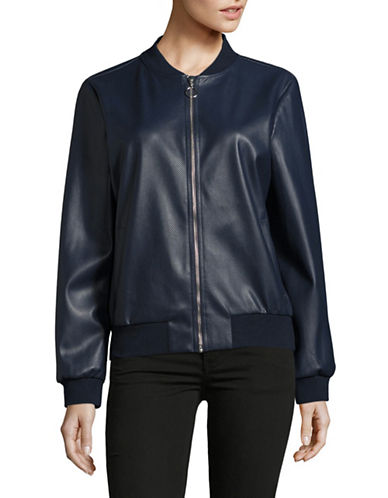 H Halston Perforated Faux-Leather Bomber Jacket-BLUE-X-Small 88886823_BLUE_X-Small