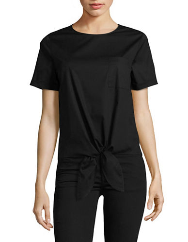 Lord & Taylor Tie-Accented Top-BLACK-Large 89162480_BLACK_Large