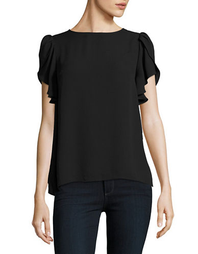 Lord & Taylor Courtney Tulip Short Sleeve Top-BLACK-X-Large 88926414_BLACK_X-Large