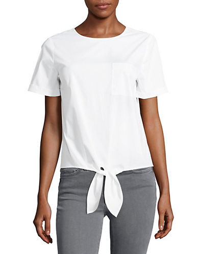 Lord & Taylor Tie-Accented Top-WHITE-Medium 89162474_WHITE_Medium