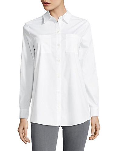 Lord & Taylor Plus  Split-Back Button-Front Shirt-WHITE-2X