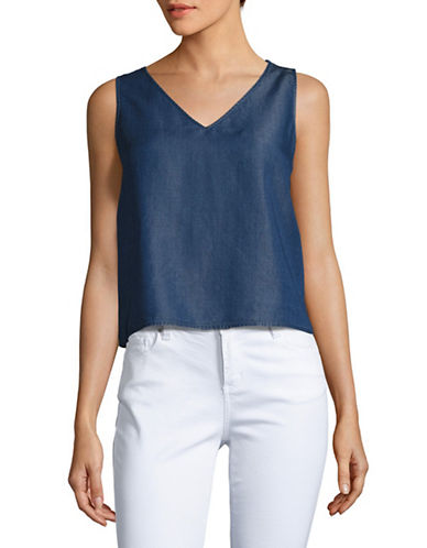 H Halston Sleeveless Denim V-Neck Top-BLUE-X-Large 88893499_BLUE_X-Large