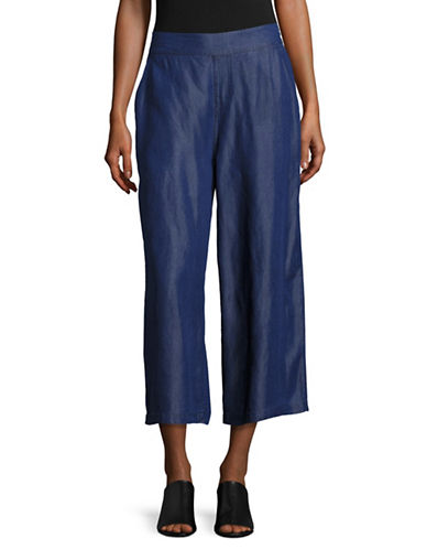 H Halston Wide Leg Chambray Cropped Pants-BLUE-X-Large 88893546_BLUE_X-Large