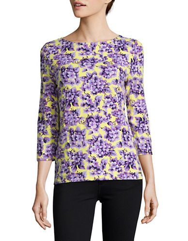 Imnyc Isaac Mizrahi Printed Three-Quarter Sleeve Boat Neck Top-YELLOW-X-Large