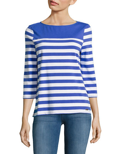 Imnyc Isaac Mizrahi Three-Quarter Sleeve Stripe Top-BLUE-Medium 88895741_BLUE_Medium