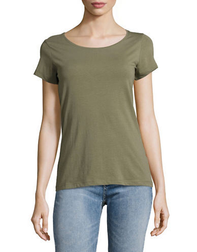 Lord & Taylor Organic Cotton Scoop neck Tee-GREEN-X-Large 88969970_GREEN_X-Large