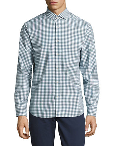 Black Brown 1826 Easy Care Plaid Sport Shirt-GREEN-X-Large