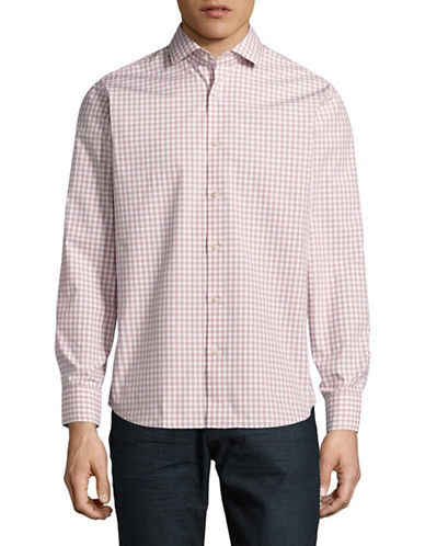 Black Brown 1826 Easy Care Plaid Sport Shirt-RED-Medium