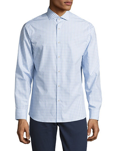 Black Brown 1826 Easy Care Plaid Sport Shirt-BLUE-Small