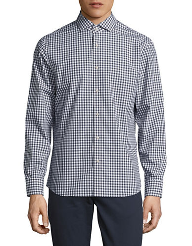 Black Brown 1826 Easy Care Plaid Sport Shirt-NAVY-Medium