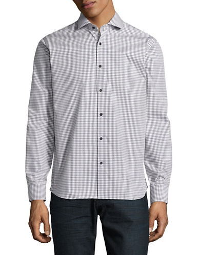 Black Brown 1826 Easy Care Plaid Sport Shirt-BLACK-Small