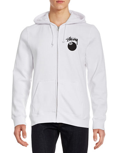 Stussy Eight Ball Zip-Front Hoodie-WHITE-X-Large 88273442_WHITE_X-Large