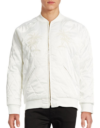 Stussy Satin Palm Bomber Jacket-WHITE-Large