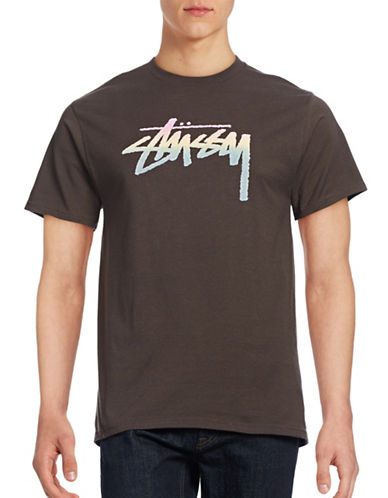 Stussy Stock Fade Cotton T-Shirt-GREY-Large